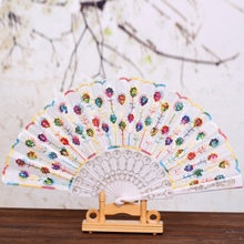 Summer Women Girl Dancing Fan Elegant Plum peacock Flower Print Folding Hand Fans