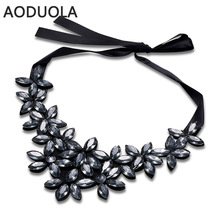 Black Ribbon rope Necklace Can be adjusted in size Flower Pendants Necklace For Women Long chain big Necklace Jewelry Gifts(China)