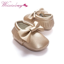 Handmade Soft Bottom Fashion Tassels Baby Moccasin Newborn Babies Shoes 18-colors PU leather Prewalkers Boots(China)