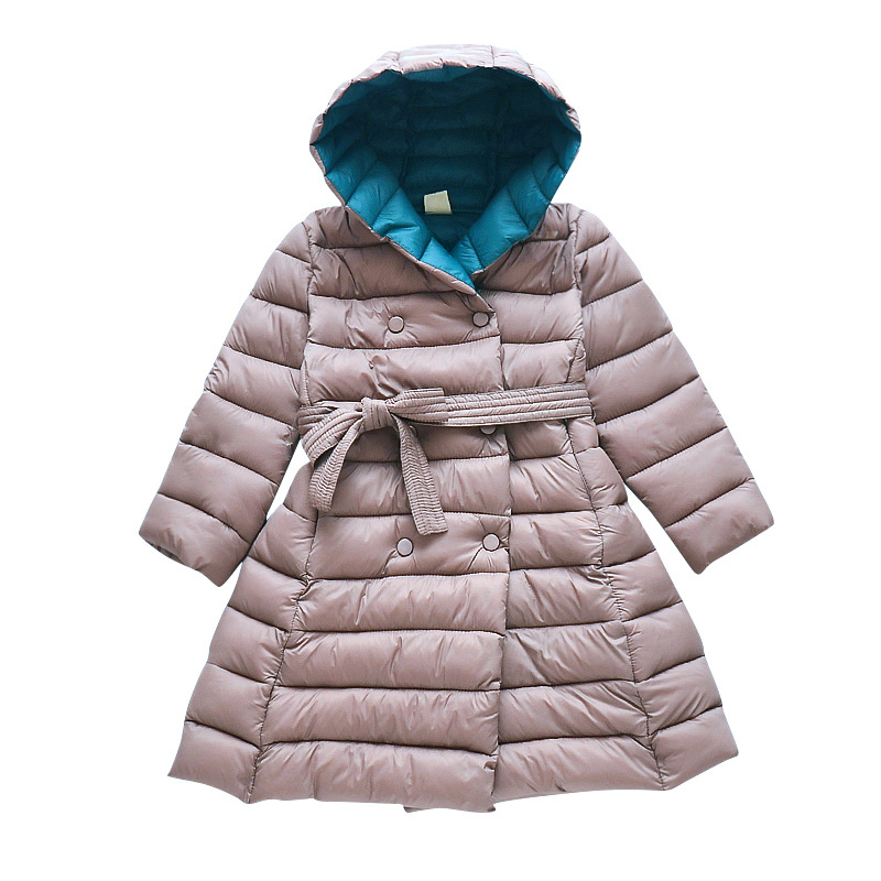 Girl Two-tone Cotton Clothes Collect Waist Girl Coat Kids Warm Clothes X-long  Coat For Children Winter Clothes