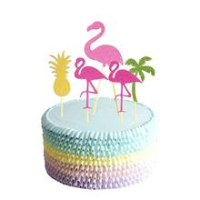 5pcs Hawaii Birthday Party Flamingo Cupcake Toppers Cute Cakes Topper Picks Wedding/Birthday Party Decoration Baby Shower
