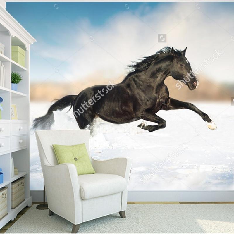 Custom natural landscape wallpaper,Black horse,photo mural for living room bedroom restaurant background wall wallpaper<br>