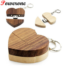 POWERONE (over 10 PCS free LOGO) wooden Heart USB Flash Drive Pendrive 32GB 8GB U Disk Memory card custom logo wedding gifts(China)