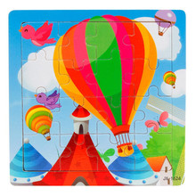 Wooden Kids 16 Piece Jigsaw Toys Education And Learning Puzzles Toys Rainbow Hot air balloon development Intelligence D#(China)