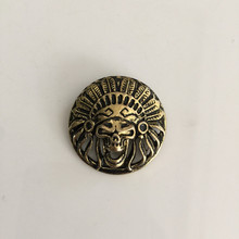 Retail Wholesale New High Quality Screw Head 3.0cm Round Bronze Indians Metal Buttons For Fashion Men Women Belt Bag Accessories