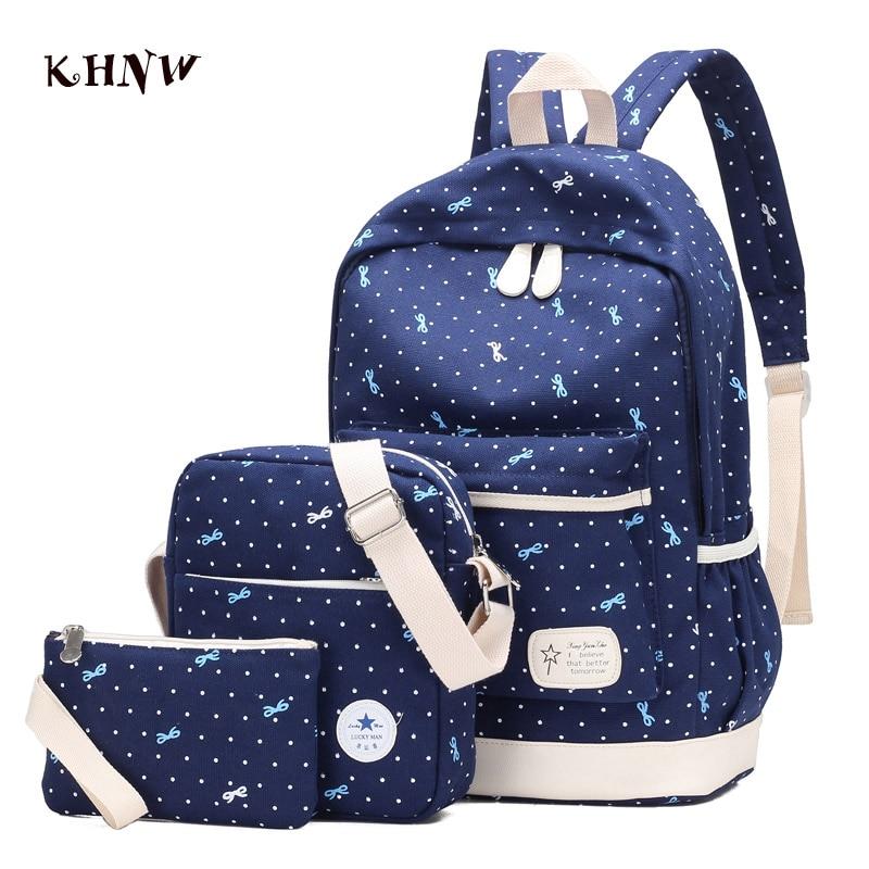 KHNW Brand 2017 New Three sets 14Inch Laptop Bag Women Backpack Bag Korean Canvas Printing School Shoulde Bags Mochila Masculina<br><br>Aliexpress