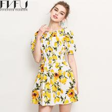 New Fashion Summer Style 2017 Women Summer Dress Elegant Yellow Flowers Dress High Waist Puff Sleeve Dresses Plus Size