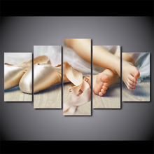 5 Piece Lovely Little Feet Painting Canvas Little Girls Baby Ballet Shoe Pictures HD Prints Poster Home Decor Wall Art Framework(China)