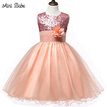 Aini Babe 0-12 Years Hot Selling Baby Girls Flower Sequins Dress High quality Party Princess Dress Children Kids Clothes Outfits(China)