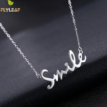 Flyleaf Letter Smiling 925-sterling-silver Cubic Zirconia Diamonds Necklaces & Pendants For Women Romantic Lady Gift Jewelry