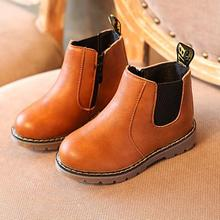 Boys Spring Autumn Martin Boots Toddler Girls Leather Soft Flat Shoes Kids Casual Sneakers Solid Kids Boots Children Shoes21-36