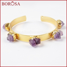 BOROSA Gold Color 5 Natural Purple Crystal Stone Druzy Bangle for Women, Fashion Druzy Gems Bangles Jewelry G1402(China)