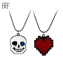 Anime Undertale Red Heart Necklace Pendant Cosplay Costume Otaku Gift Black Bead chain Choker Necklace & Pendants skull Jewelry