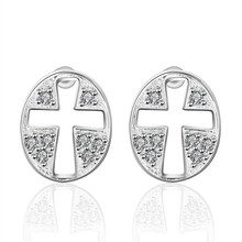 Personalized hollow cross Stud Earrings silver platedCZ fashion jewelry factory direct free shipping holiday gifts preferred(China)