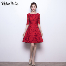 PotN'Patio Elegant O-neck Half Sleeves Knee Length Cocktail Dresses 2017 New Wine Red Lace Party Dresses