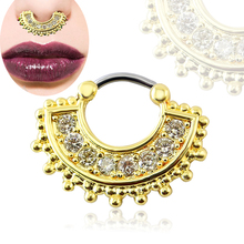Stainless Steel Gold 8 Cubic Zircon Unique Septum Ring Septum Online Nose Ring Hoop Jewelry Buy Nose Ring Online For Women