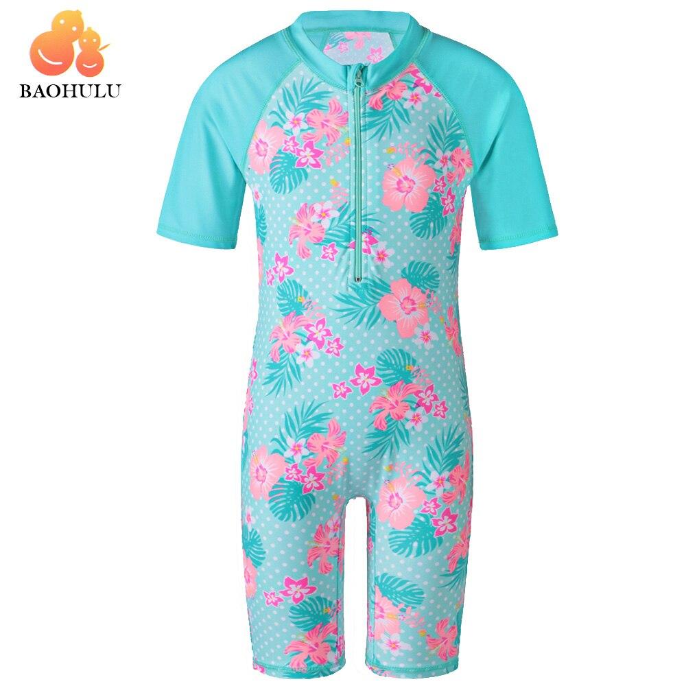 Toddler Baby Girl Two Piece Tankini Swimsuit Set Kids Short Sleeve Flower Print Bathing Suit UPF 50+