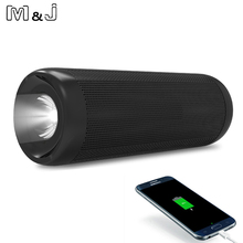 M&J P4 Outdoor Wireless Bluetooth Speaker Power Bank 10W Portable Bass Stereo Loudspeaker MP3 Handsfree Mic Flashlight