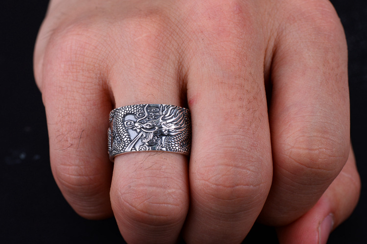 Heart Sutra Real 999 Pure Silver Biker Rings With Flying Dragon in hand