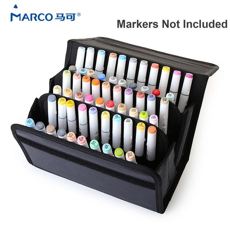 Marker 60 Large Slots School Marker Case Multi Layer Oxford Leather Marker Holder Bags Marker Hand Bag For Student Stationery<br>