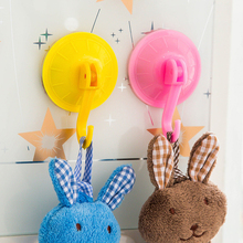 4pcs/lot Wall Hanger Plastic Eco-Friendly Size 7cm Removable Candy Color Hook Sucker Wall hanger rail for Bathroom Kitchen(China)