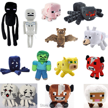 15 Style Minecraft Enderman Zombie Skeleton Mushroom Ocelot Wolf Sheep Squid Cartoon Games Stuffed Plush Toys Christmas Gift(China)