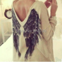 Hot 2016 New Angel Wings Hoodies Sweatshirt Women Brand New Autumn Summer Long Sleeve Print Tee V neck wing pattern shirt