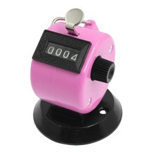 Golf Pitch 4 Digit Number Clicker Hand Held Tally Counter Black Pink(China)