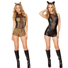 2016 New Sexy Latex Mesh Catsuit PVC Faux Leather Cat Women Erotico Body Suit Leotard Lingerie Costume With Headwear