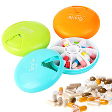 4 Colors 9CM Portable Travel Pill Case Weekly Rotate 7 Days Drugs Organizer Medicine Storage Container Pillbox(China)