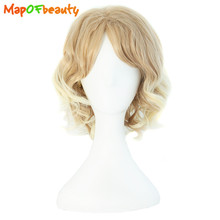 MapofBeauty short curly cosplay wigs men women blonde color Heat Resistant Synthetic Hair Halloween High Temperature Fiber(China)