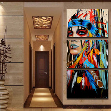 Home Decor HD Printed Woman Posters Frame Wall Art Pictures 3 Pieces American Indian Canvas Feathered Painting Living Room Photo(China)
