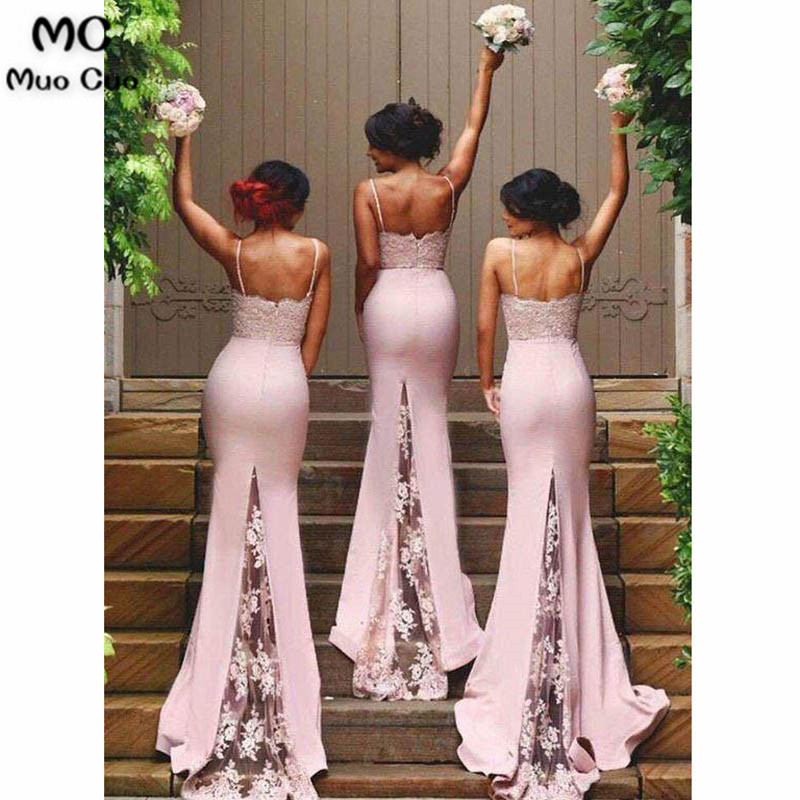Spaghetti Strap Mermaid Bridesmaid Dresses Sexy Lace Bridesmaid Dresses3