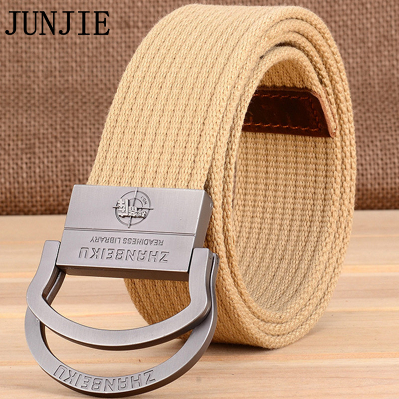 2017 Thickening Canvas Belts Double Ring Buckle Weaving Student Knitted Belt Comfortable Military Training Waist Strap 100pcs(China)