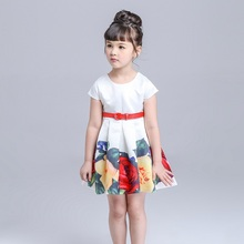 Girls summer dress Presented a belt print roses princess tutu dress with short sleeves baby girl clothes white party dresses