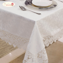 Proud Rose European Style Embroidery Lace Tablecloth/ White Hollow Out Tea Table Cloth/ High-grade Household Cloth Free Shipping