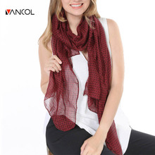 Vancol Brand Designer Summer Fashion Style Red Black Gray Plain Printed Long Chiffon Shawl Women 2016 Spring Polka Dot Scarf