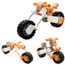 Children Creative Assembly Combination Wooden Motorbike Trucks Model Bady Develop Intelligence Educational Toy(China)