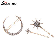 KISS ME New Fashion 3pcs/set Barrettes Affordable Zinc Alloy Rhinestone Star Moon Hair Jewelry Accessores(China)