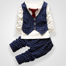 Fashion Party Wedding Baby Boys Girls Children's Tie Dress Stripe Tops  + Plaid Pants Christmas Clothing Sets 0-3 Sport Suit