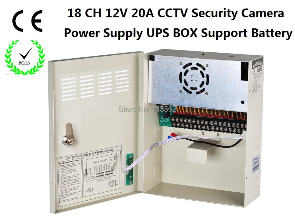 DHL/EMS Free Shipping:CCTV Power Supply 18Channel DC12V 20A UPS Box Power Supply Support Battery CE ROHS For CCTV Camera(China (Mainland))