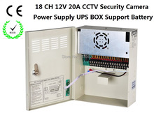 DHL/EMS Free Shipping:CCTV Power Supply 18Channel DC12V 20A UPS Box Power Supply Support Battery CE ROHS For CCTV Camera