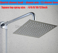 free shipping+4/6/8/10/12 inch)square stainless steel ultra-thin shower head with arm+1.5 shower hose rain bathroom mixer modern