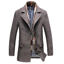 Free shipping Brand Winter Men Wool Coat Casual Warm Fashion Men comfortable Wool Blend Overcoat 180hfx