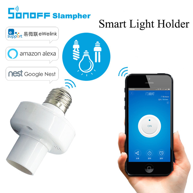 Sonoff Slampher Universal WiFi Light Lamp Bulbs Holder RF 433MHz Wireless Control Light Holder E27 Smart Home Switch IOS Android