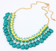 NANBO SPX6162 jewellery Fashion Elegant Luxurious Collar Water Drop Big Chain Gem Stone Resin Bohemia Necklaces&Pendents(China)