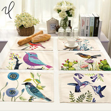 Lovely Natural 42*32cm birds printed Insulation cotton linen dining Placemat mats tableware pads home use table cloth Placemats