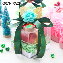 10 pcs/lot 9*9*9cm Christmas gift cake cookie clear pvc box package 1 lot=10 boxes +10 pedestals+10 ribbons+grass+accessories