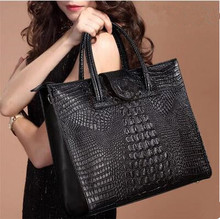 Authentic Women Crocodile Bag 100% Genuine Leather Women Croco Handbag Hot Selling Tote Women Bag Luxury Brand Bags(China)