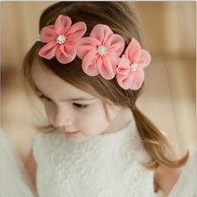 2017 New Ribbon Pearl Diamond Headwear Newborn Hairbands sewing 3 Flowers Headband Kids Hair Accessories Jeaely(China)